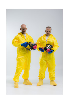 HEISENBERG & JESSE TRAJE MATERIALES PELIGROSOS SET 2 FIGURAS 30 CM THREEZERO BREAKING BAD