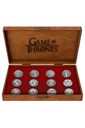 SET EMBLEMAS PINS METALICOS DELUXE GAME OF THRONES